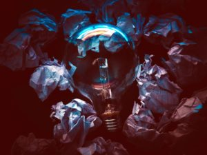 light, bulb, papers, paper