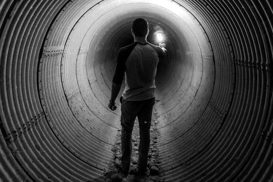 tunnel, disegno, passaggio, corridoio, luce, arte, digitale