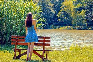 girl, blue dress, standing, bench, lake