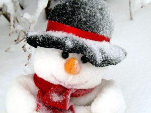 muñeco de nieve, cara, sombrero negro, nieve