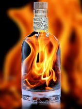 flame, bottle