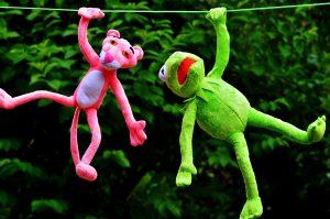 plush toys, Kermit frog, pink panther toy