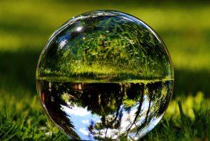 gota de cristal, reflexão, grama de água