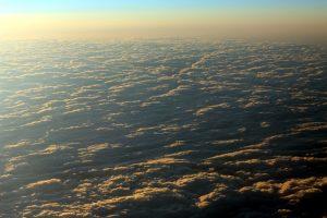 구름, 일출, 하늘 위에