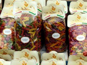 bags, colorful pasta, food