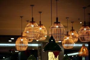 lámparas de techo, bambú, restaurante