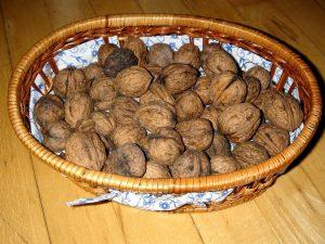basket, walnuts