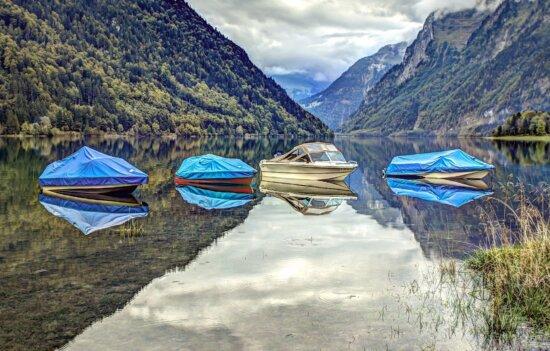 glacier, mountain, landscape, mountains, clouds, boats