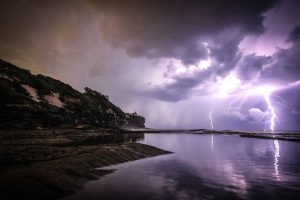 sea, lightning, strikes, sky, coast