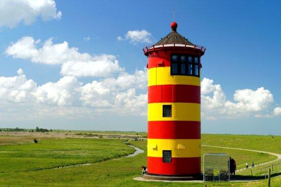 phare coloré, paysage, tour