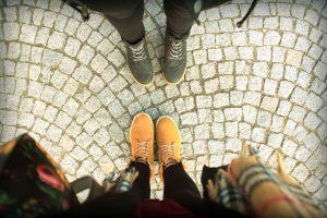 bottes, chaussures, trottoir, chaussures, pierre