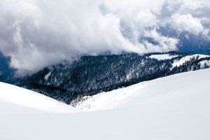 clouds, snow, trees, winter, reezing, mountains