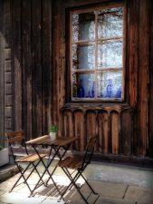 meubles, chaises, architecture, bois, rustique, table, mur