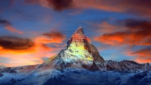 clouds, blue sky, mountain, nature, snowy peak