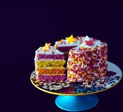 birthday cake, platter, gift