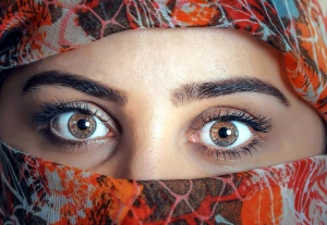 muslim woman, pretty girl, eyes, covered face