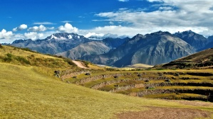 landscape, terrace, mountains, summer, hills