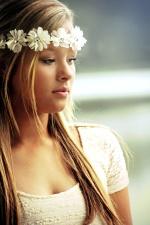 pretty girl, blonde hair, white flowers