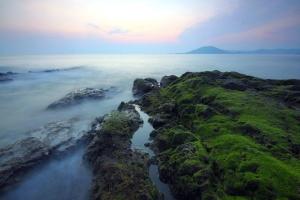 θάλασσα, ηλιοβασίλεμα, ταξίδια, ομίχλη, νησί