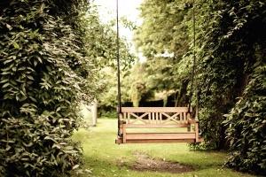 garden, grass, tree, wood, trees, swing