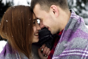 cute, couple, kissing, snow