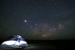 noc, namiot, niebo, gwiazdy