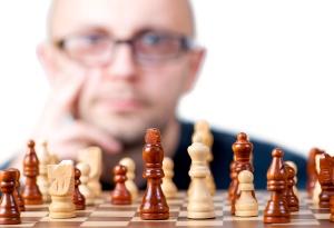 man playing chess, game