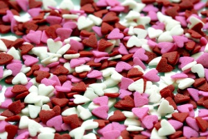 pink hearts, red hearts, Valentine's day, candy