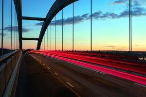 lumière rouge, route, ciel, pont, crépuscule