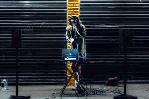 speakers, street, music, laptop computer, man