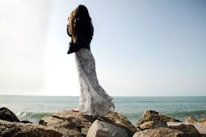 mer, femme, vêtements, barrière de corail, robe