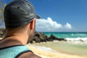 man, travel, vacation, water, waves, cap
