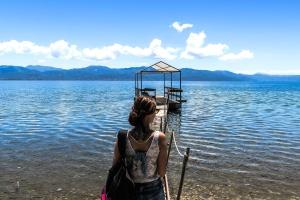 woman, wooden dock, water, jetty