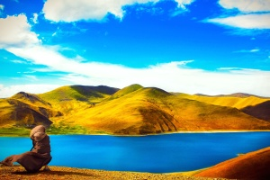 fjellet, himmelen, sommer, turisme, reise, vann