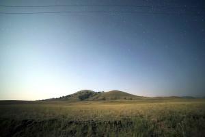 estrellas, noche, campo, hierba, naturaleza