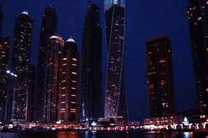 city, night, illuminated city, skyscrapers, downtown