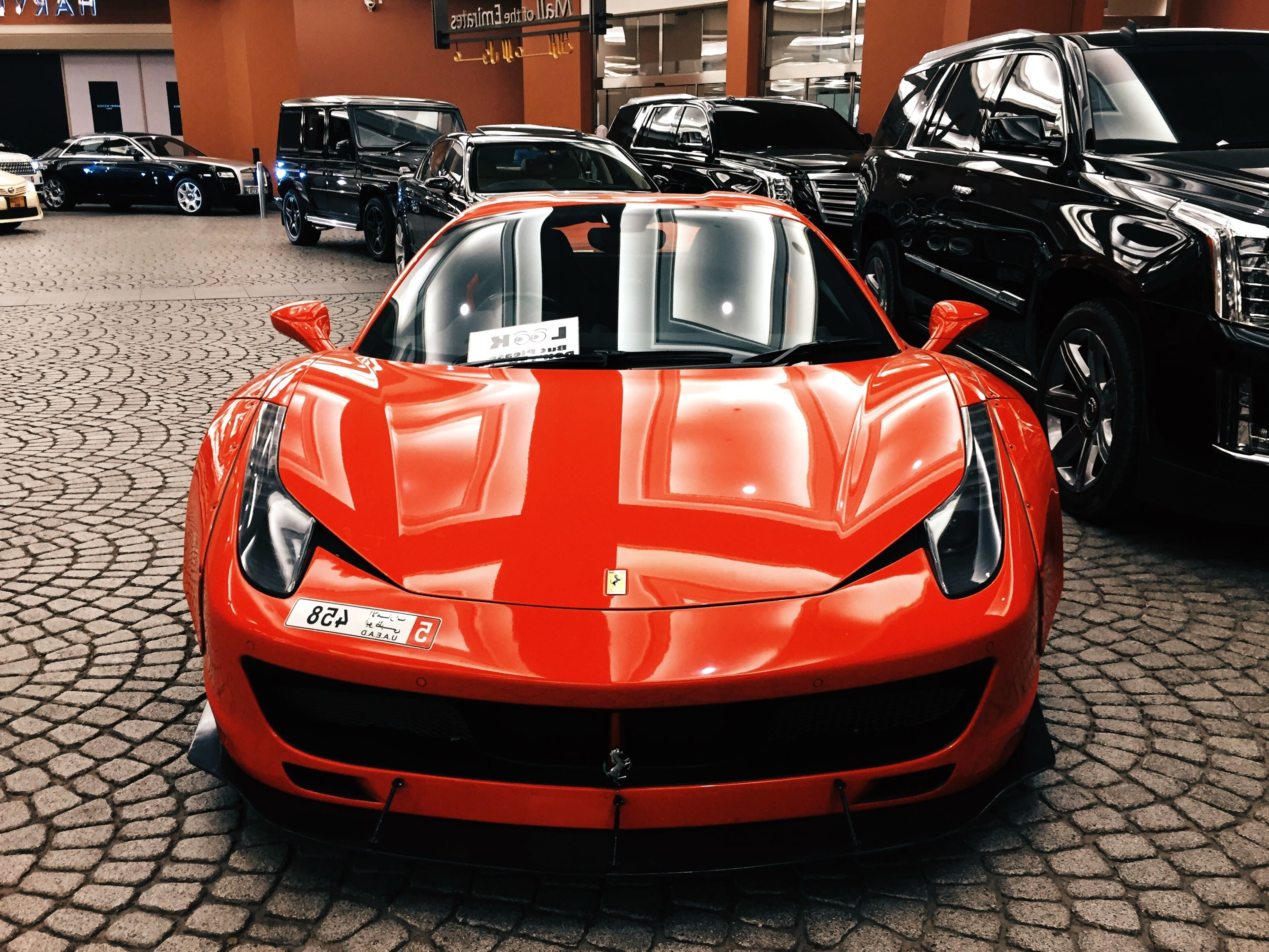 Red Ferrari Car, Vehicle, Wheels, Sport Car, Windshield