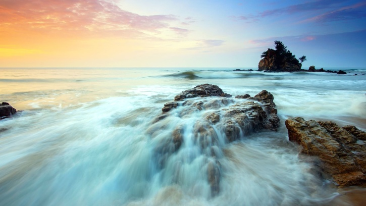 sea, during, sunset, ocean, rocks