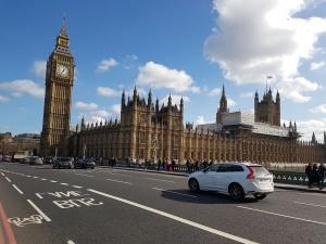 cloudy, blue sky, tower, street traffic, urban