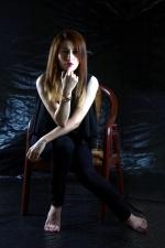 jolie fille, modèle photo, séance, chaise