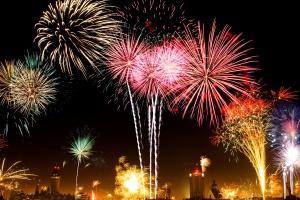 colorful fireworks, new year, celebration