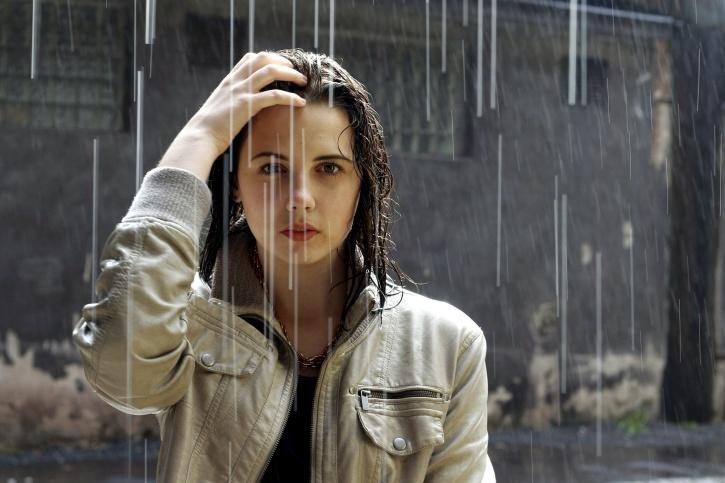 women, standing, rain