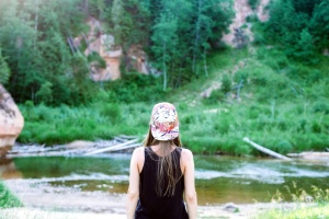 teenage girl, back, nature, river, hat