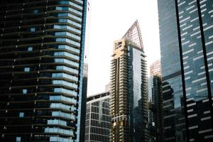 skyskrapor, höga, urban, byggnader, stad