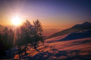 sunrays, sunrise, sunset, trees, mountain, nature
