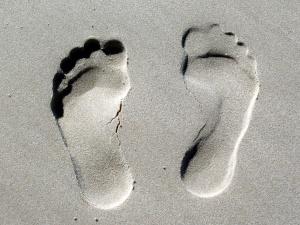 human footprints, sand