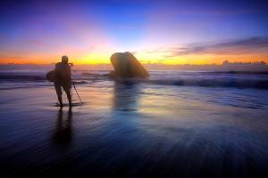 photographer, seaside, sunset, landscape photography