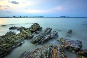 Dawn, havet, klipperne, tåge, kystlinje