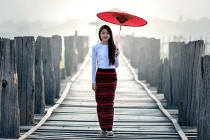 pretty Asian girl, rain, red umbrella