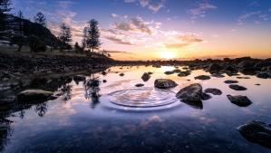 sunset, water ripples, landscape